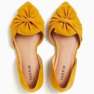 Torrid Faux Suede Mustard Yellow Twist Bow Flats